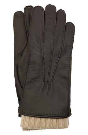 Мужские кожаные перчатки LORO PIANA темно-коричневого цвета, арт. FAL9542 | Фото 1 (Мужское Кросс-КТ: Кожа и замша)