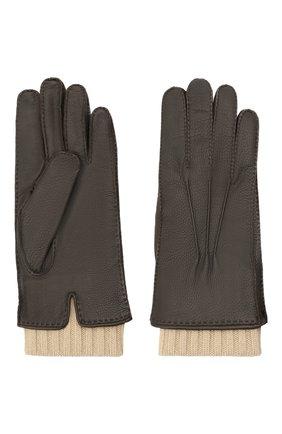 Мужские кожаные перчатки LORO PIANA темно-коричневого цвета, арт. FAL9542 | Фото 2 (Мужское Кросс-КТ: Кожа и замша)