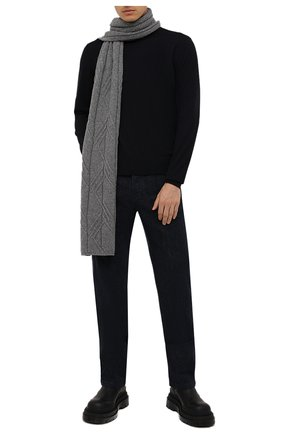 Мужской кашемировый шарф LORO PIANA серого цвета, арт. FAL9444 | Фото 2