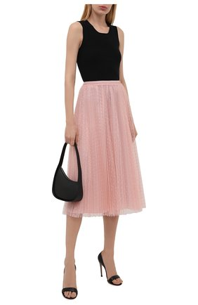 Женская юбка REDVALENTINO светло-розового цвета, арт. WR3RAC20/428   Фото 2 (Материал подклада: Синтетический материал; Материал внешний: Синтетический материал; Женское Кросс-КТ: юбка-плиссе, Юбка-одежда; Стили: Романтичный; Длина Ж (юбки, платья, шорты): До колена, Миди)