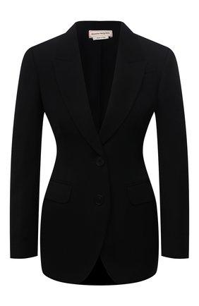 Женский шерстяной жакет ALEXANDER MCQUEEN черного цвета, арт. 666856/QJACH | Фото 1