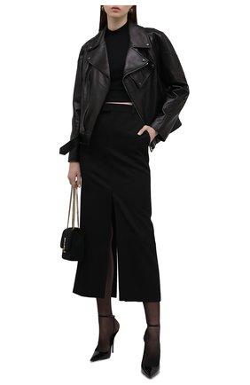 Женские кожаные туфли instinct SAINT LAURENT черного цвета, арт. 656824/0NP00 | Фото 2 (Подошва: Плоская; Материал внутренний: Натуральная кожа; Каблук высота: Высокий; Каблук тип: Шпилька)