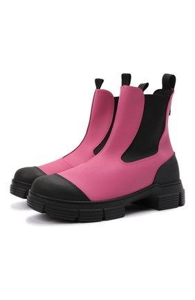 Женские резиновые ботинки GANNI розового цвета, арт. S1553   Фото 1