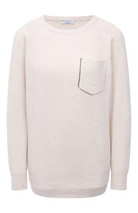 Женский кашемировый пуловер BRUNELLO CUCINELLI кремвого цвета, арт. M12179100 | Фото 1 (Длина (для топов): Стандартные; Материал внешний: Кашемир, Шерсть; Рукава: Длинные; Женское Кросс-КТ: Пуловер-одежда; Стили: Кэжуэл)