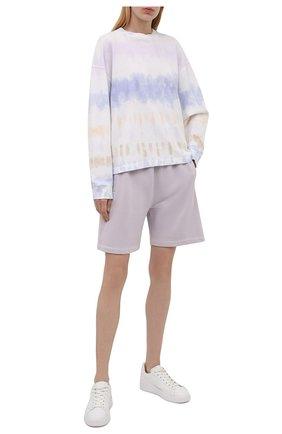 Женские хлопковые шорты AGOLDE светло-сиреневого цвета, арт. A9014B | Фото 2 (Материал внешний: Хлопок; Длина Ж (юбки, платья, шорты): Мини; Женское Кросс-КТ: Шорты-одежда; Стили: Спорт-шик)