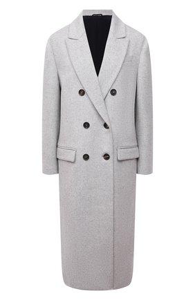 Женское шерстяное пальто BRUNELLO CUCINELLI светло-серого цвета, арт. ME4179732 | Фото 1 (Материал подклада: Синтетический материал; Материал внешний: Шерсть; Длина (верхняя одежда): Длинные; Рукава: Длинные; 1-2-бортные: Двубортные; Стили: Кэжуэл)