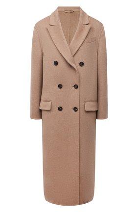 Женское кашемировое пальто BRUNELLO CUCINELLI бежевого цвета, арт. MD5039730   Фото 1 (Рукава: Длинные; Материал внешний: Шерсть, Кашемир; Длина (верхняя одежда): Длинные; 1-2-бортные: Двубортные; Стили: Кэжуэл)
