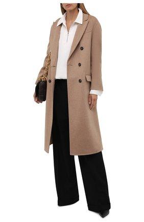 Женское кашемировое пальто BRUNELLO CUCINELLI бежевого цвета, арт. MD5039730   Фото 2 (Рукава: Длинные; Материал внешний: Шерсть, Кашемир; Длина (верхняя одежда): Длинные; 1-2-бортные: Двубортные; Стили: Кэжуэл)
