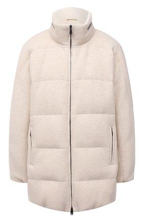 Женская пуховая куртка BRUNELLO CUCINELLI кремвого цвета, арт. M012T2780 | Фото 1 (Материал внешний: Кашемир, Шерсть; Длина (верхняя одежда): До середины бедра; Материал утеплителя: Пух и перо; Рукава: Длинные; Материал подклада: Синтетический материал; Кросс-КТ: Куртка; Женское Кросс-КТ: Пуховик-куртка; Стили: Кэжуэл)