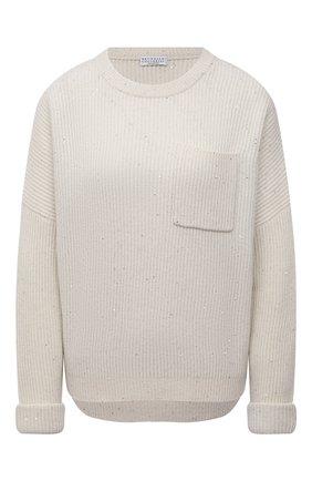 Женский пуловер из кашемира и шерсти BRUNELLO CUCINELLI кремвого цвета, арт. MBM755800 | Фото 1 (Материал внешний: Шерсть, Кашемир; Рукава: Длинные; Длина (для топов): Стандартные; Женское Кросс-КТ: Пуловер-одежда; Стили: Кэжуэл)