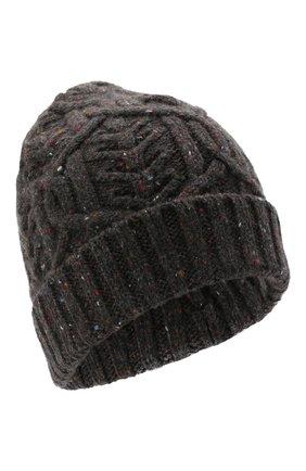 Женская кашемировая шапка LORO PIANA темно-серого цвета, арт. FAL9154 | Фото 1 (Материал: Шерсть, Кашемир)