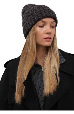 Женская кашемировая шапка LORO PIANA темно-серого цвета, арт. FAL9154 | Фото 2 (Материал: Шерсть, Кашемир)