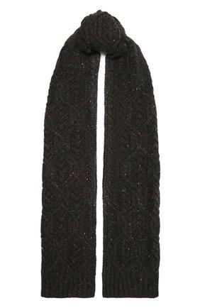 Женский кашемировый шарф LORO PIANA темно-серого цвета, арт. FAL9153 | Фото 1 (Материал: Кашемир, Шерсть)