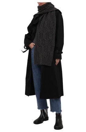 Женский кашемировый шарф LORO PIANA темно-серого цвета, арт. FAL9153 | Фото 2 (Материал: Кашемир, Шерсть)