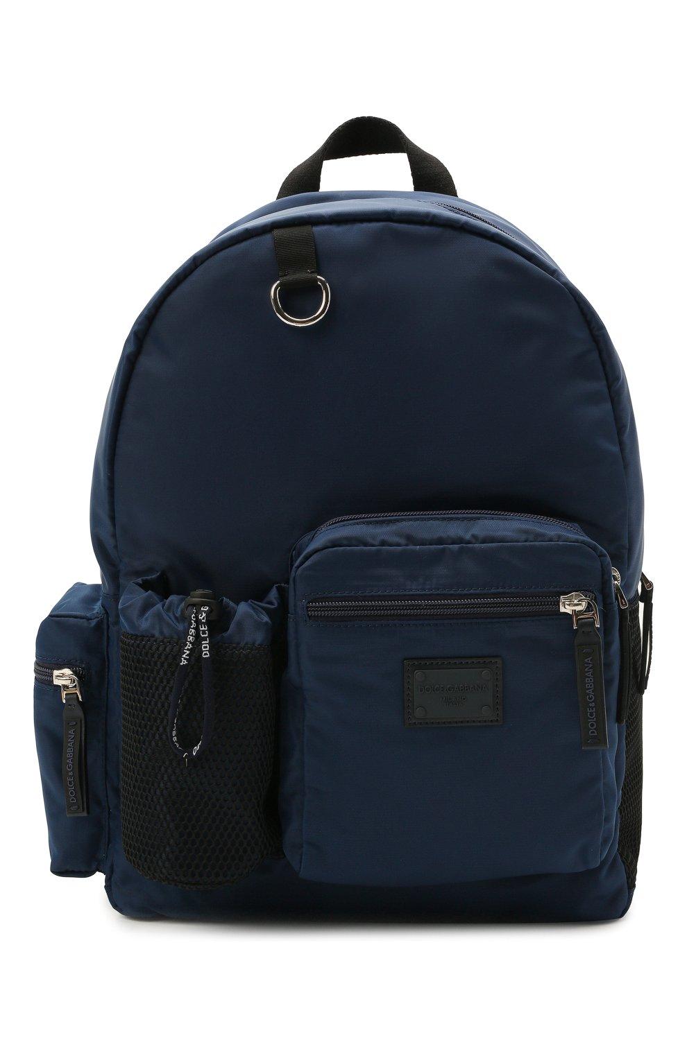 Детская рюкзак DOLCE & GABBANA темно-синего цвета, арт. EM0105/AT994 | Фото 1 (Материал: Текстиль)