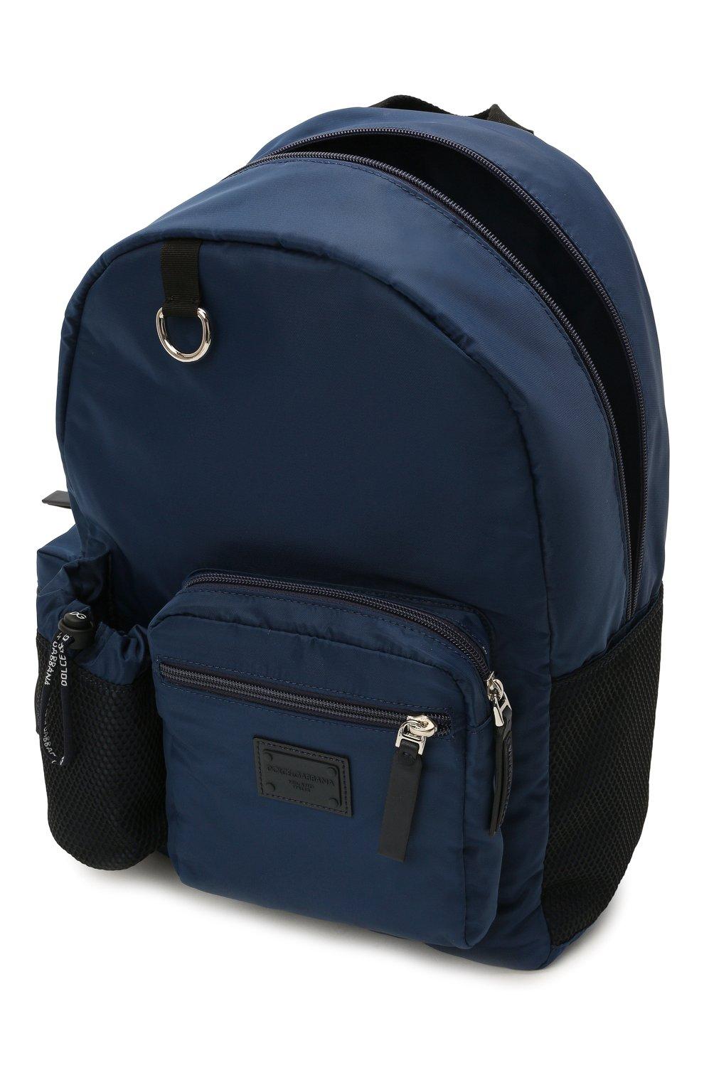 Детская рюкзак DOLCE & GABBANA темно-синего цвета, арт. EM0105/AT994 | Фото 3 (Материал: Текстиль)