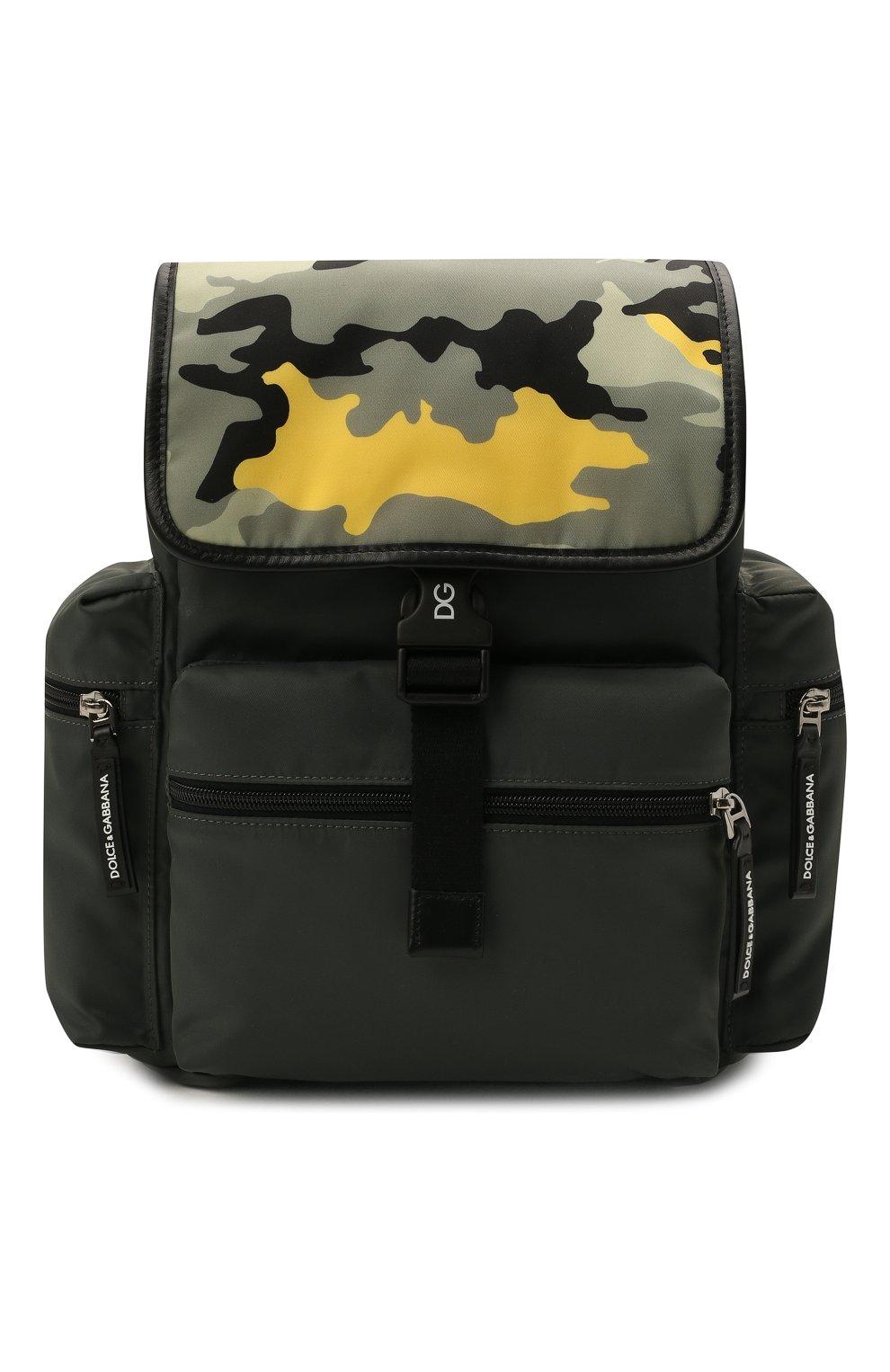 Детская рюкзак DOLCE & GABBANA хаки цвета, арт. EM0100/AA601 | Фото 1 (Материал: Натуральная кожа, Текстиль)
