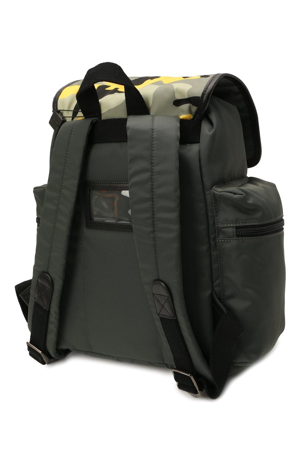 Детская рюкзак DOLCE & GABBANA хаки цвета, арт. EM0100/AA601 | Фото 2 (Материал: Натуральная кожа, Текстиль)