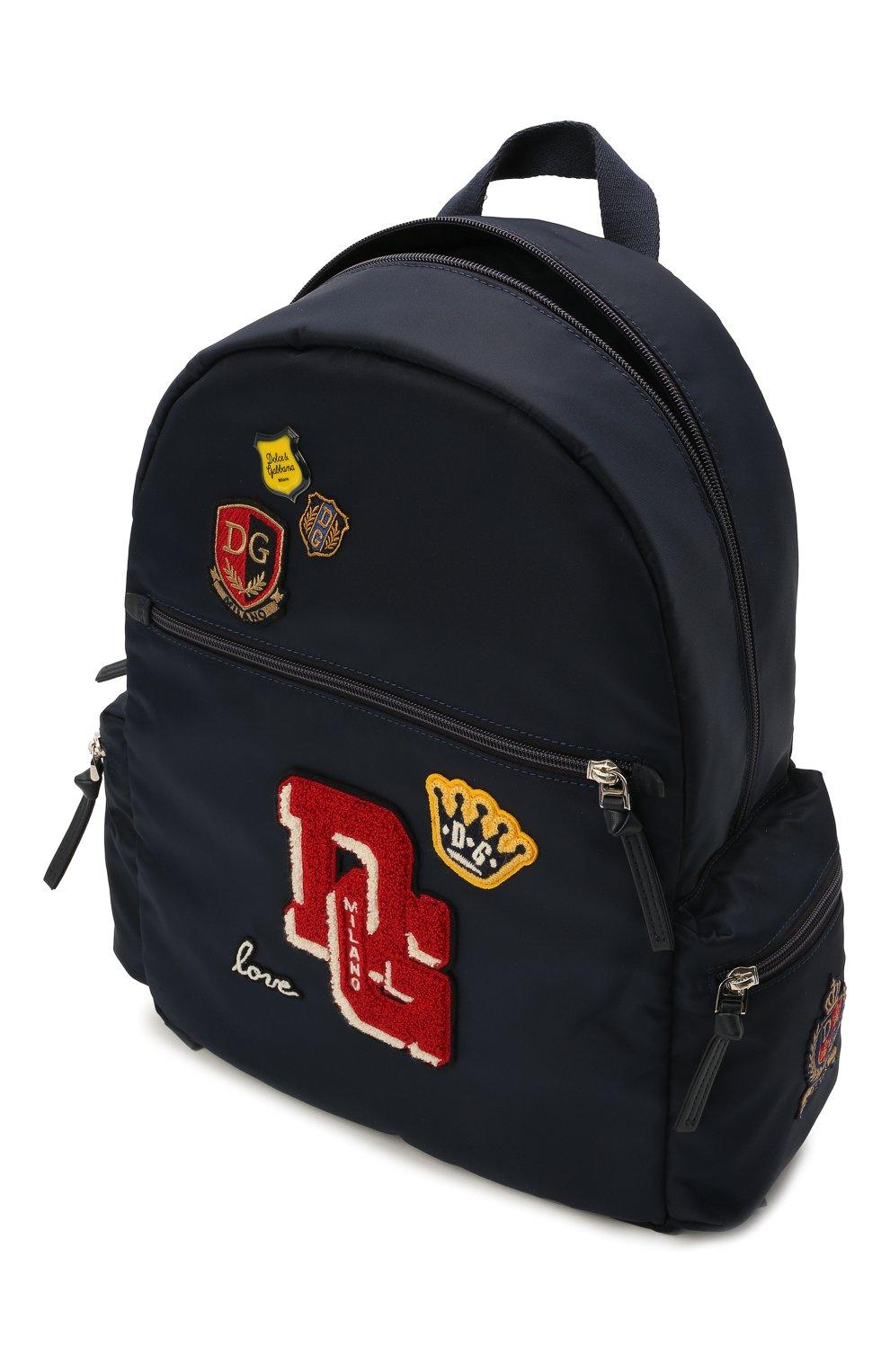 Детская рюкзак DOLCE & GABBANA темно-синего цвета, арт. EB0230/AU927 | Фото 3 (Материал: Текстиль)