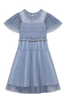 Детское платье SELF-PORTRAIT KIDS голубого цвета, арт. PF21-715 | Фото 1 (Материал подклада: Синтетический материал; Рукава: Короткие; Материал внешний: Синтетический материал; Девочки Кросс-КТ: Платье-одежда; Ростовка одежда: 4 года | 104 см, 5 лет | 110 см, 6 лет | 116 см, 7 лет | 122 см, 8 лет | 128 см, 10 - 11 лет | 140 - 146см, 9 лет | 134 см)