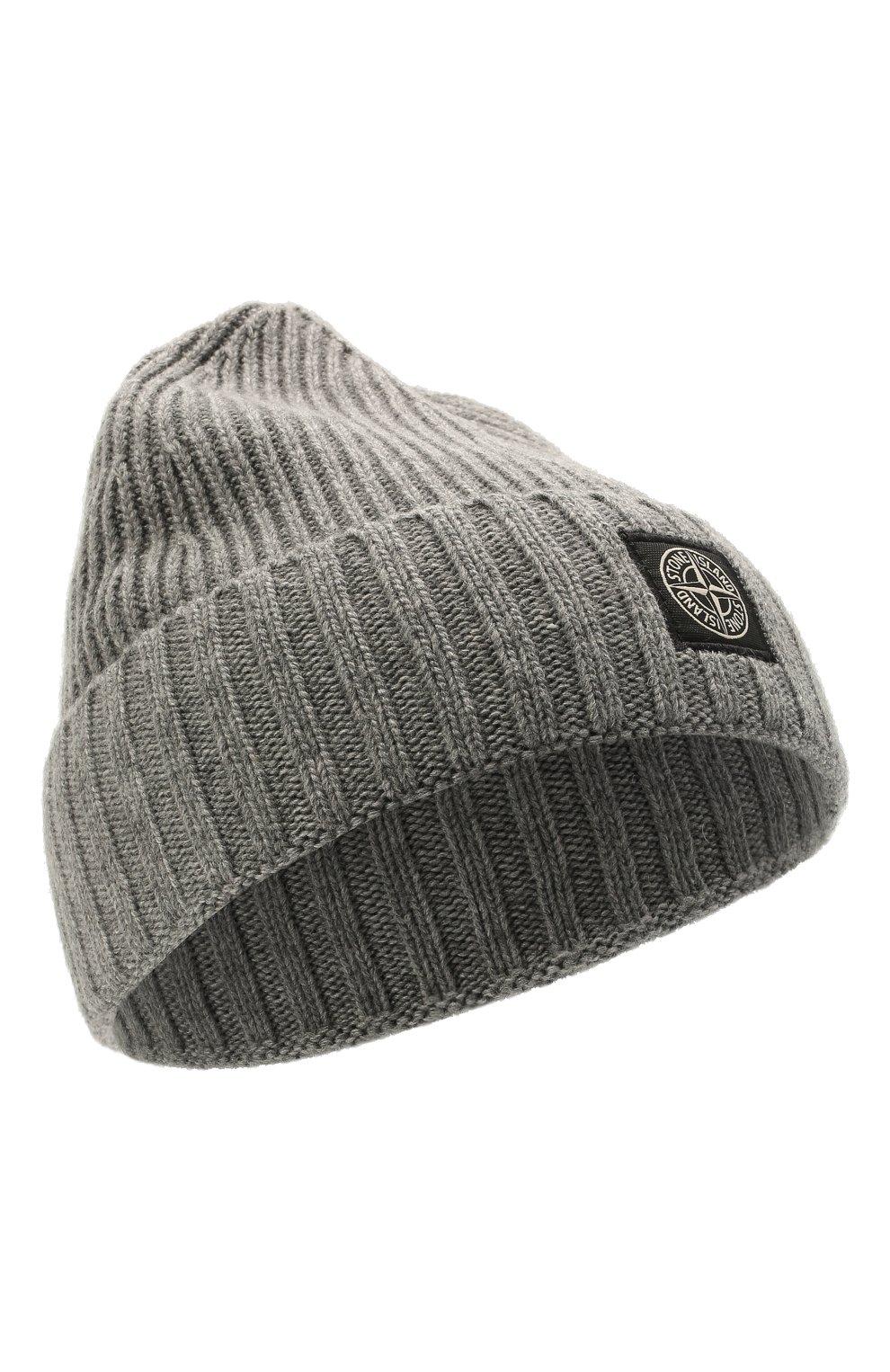 Детского шапка из шерсти и вискозы STONE ISLAND темно-серого цвета, арт. 7516N03A8 | Фото 1 (Материал: Текстиль, Шерсть, Вискоза)