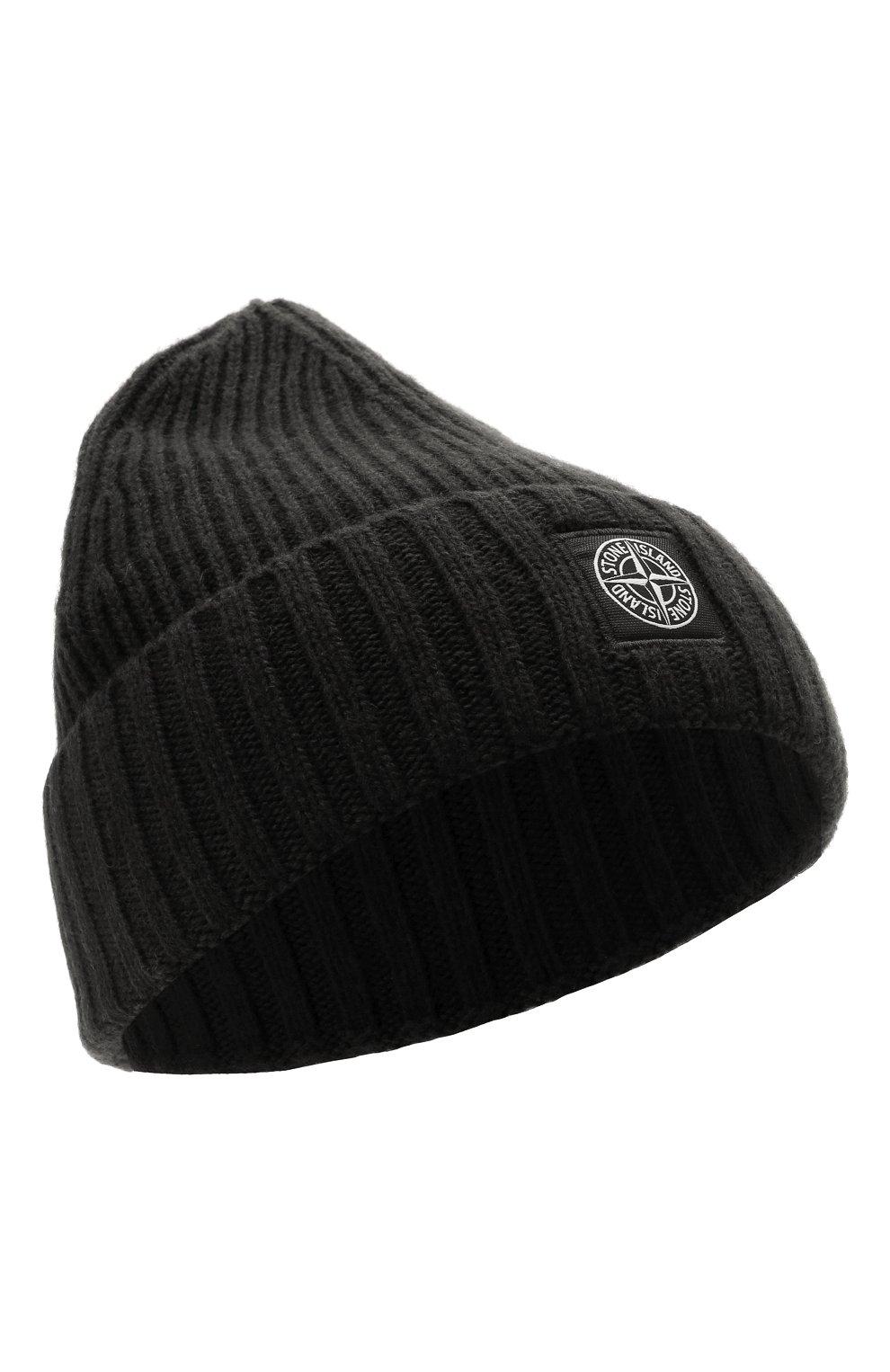 Детского шапка из шерсти и вискозы STONE ISLAND черного цвета, арт. 7516N03A8   Фото 1 (Материал: Текстиль, Шерсть, Вискоза)