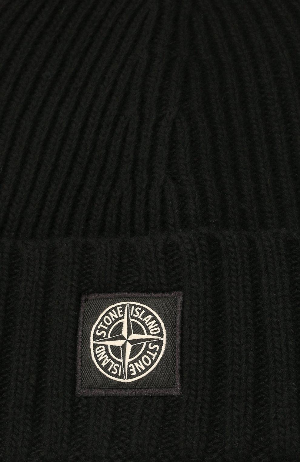 Детского шапка из шерсти и вискозы STONE ISLAND черного цвета, арт. 7516N03A8   Фото 3 (Материал: Текстиль, Шерсть, Вискоза)