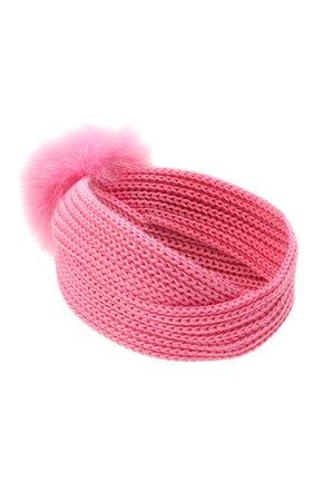 Детская шерстяная повязка с меховой отделкой CATYA розового цвета, арт. 125779 | Фото 2