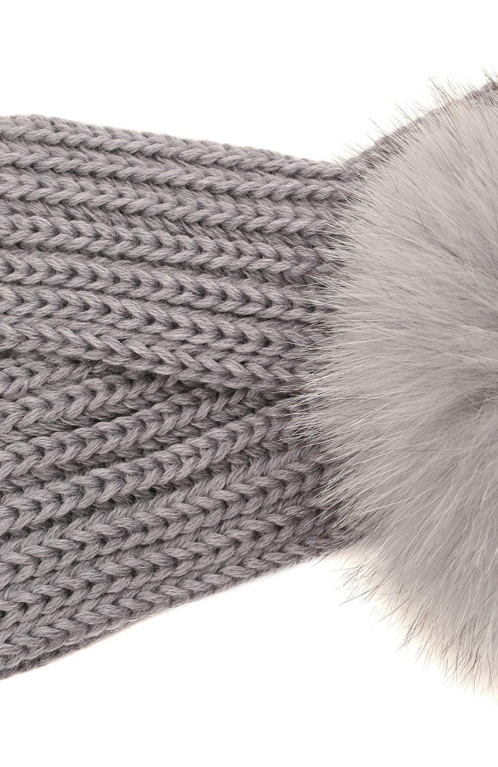 Детская шерстяная повязка с меховой отделкой CATYA серого цвета, арт. 125779 | Фото 3 (Материал: Шерсть)