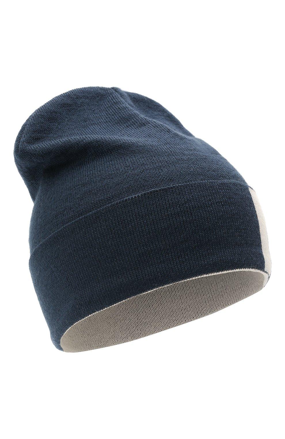 Детского шерстяная шапка CATYA темно-синего цвета, арт. 125713 | Фото 1 (Материал: Шерсть)