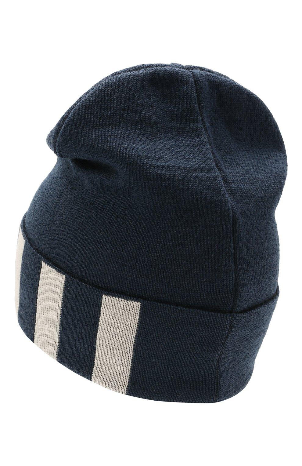 Детского шерстяная шапка CATYA темно-синего цвета, арт. 125713 | Фото 2 (Материал: Шерсть)