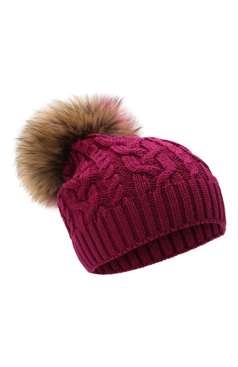Детского шерстяная шапка с меховой отделкой CATYA темно-розового цвета, арт. 125625   Фото 1 (Материал: Шерсть)
