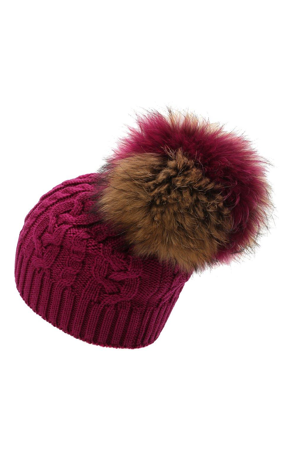 Детского шерстяная шапка с меховой отделкой CATYA темно-розового цвета, арт. 125625   Фото 2 (Материал: Шерсть)