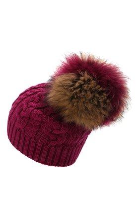 Детского шерстяная шапка с меховой отделкой CATYA темно-розового цвета, арт. 125625 | Фото 2