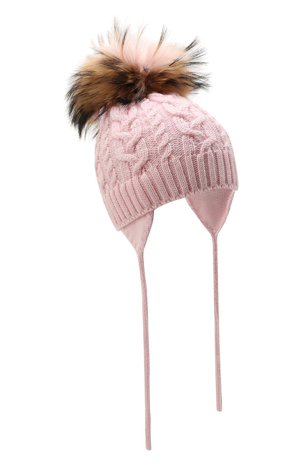 Детского шерстяная шапка с меховой отделкой CATYA розового цвета, арт. 125625/A   Фото 1 (Материал: Шерсть)