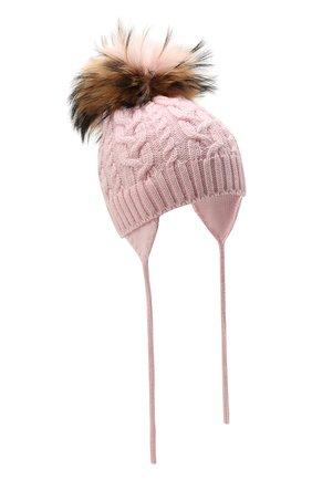 Детского шерстяная шапка с меховой отделкой CATYA розового цвета, арт. 125625/A | Фото 1