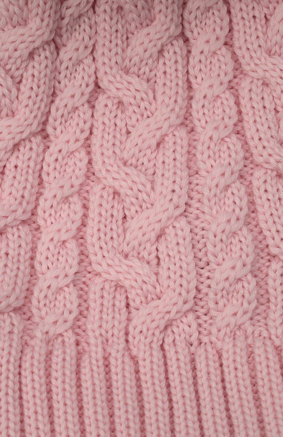 Детского шерстяная шапка с меховой отделкой CATYA розового цвета, арт. 125625/A   Фото 3 (Материал: Шерсть)