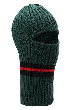 Детского шерстяная шапка-балаклава CATYA зеленого цвета, арт. 125618 | Фото 1