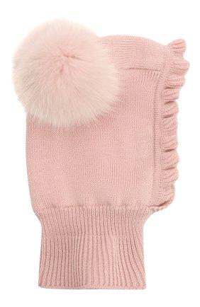 Детского шерстяная шапка-балаклава CATYA розового цвета, арт. 125617/P | Фото 2