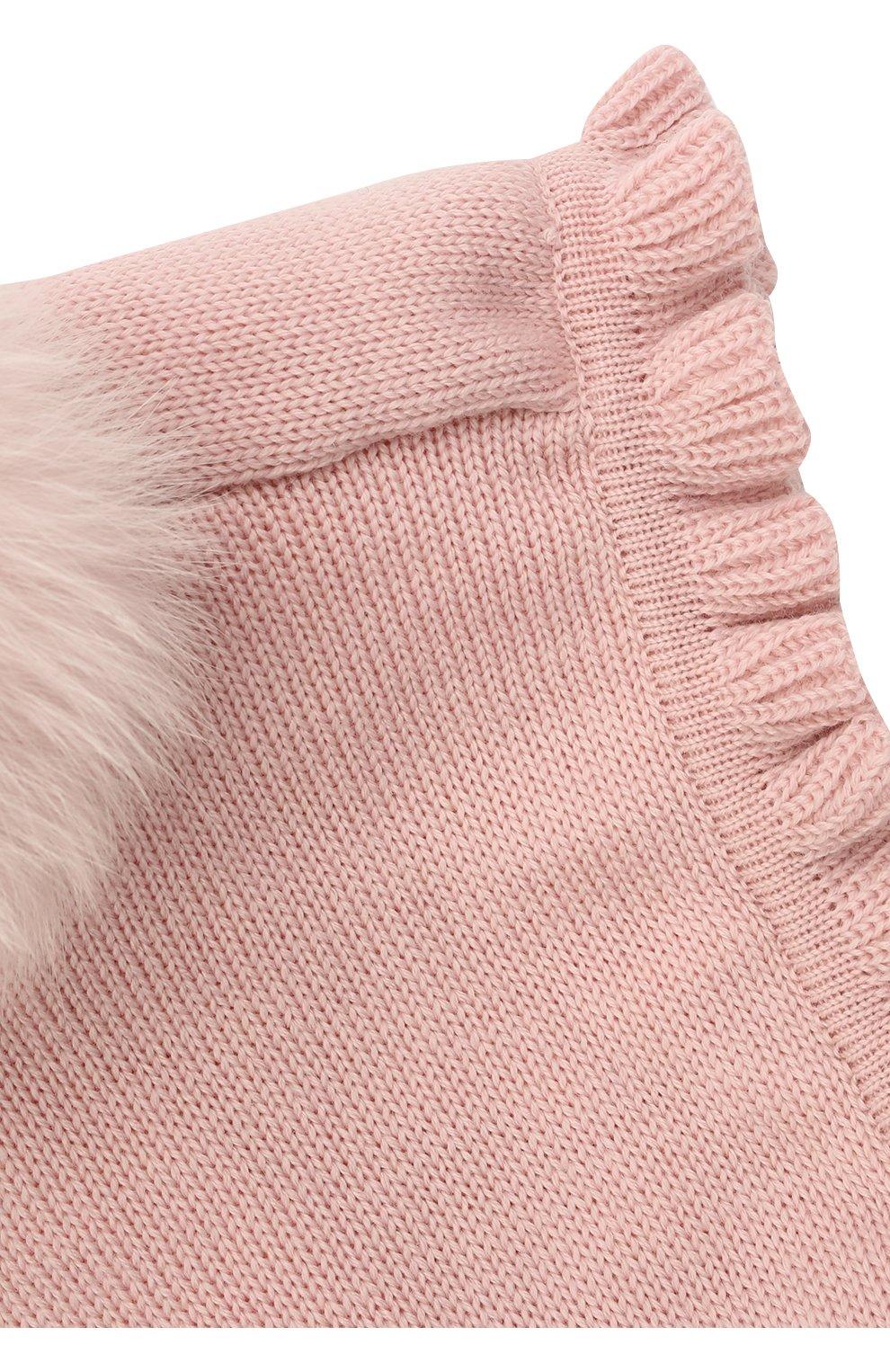 Детского шерстяная шапка-балаклава CATYA розового цвета, арт. 125617/P   Фото 3 (Материал: Шерсть)