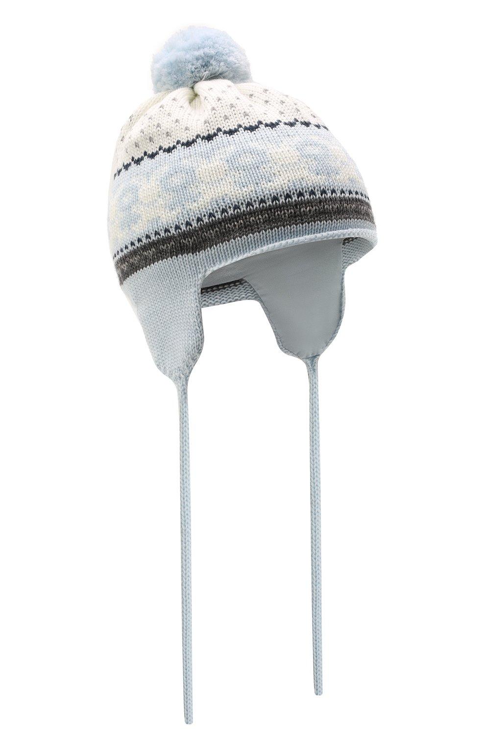 Детского шерстяная шапка CATYA голубого цвета, арт. 125609/J0F | Фото 1 (Материал: Шерсть)
