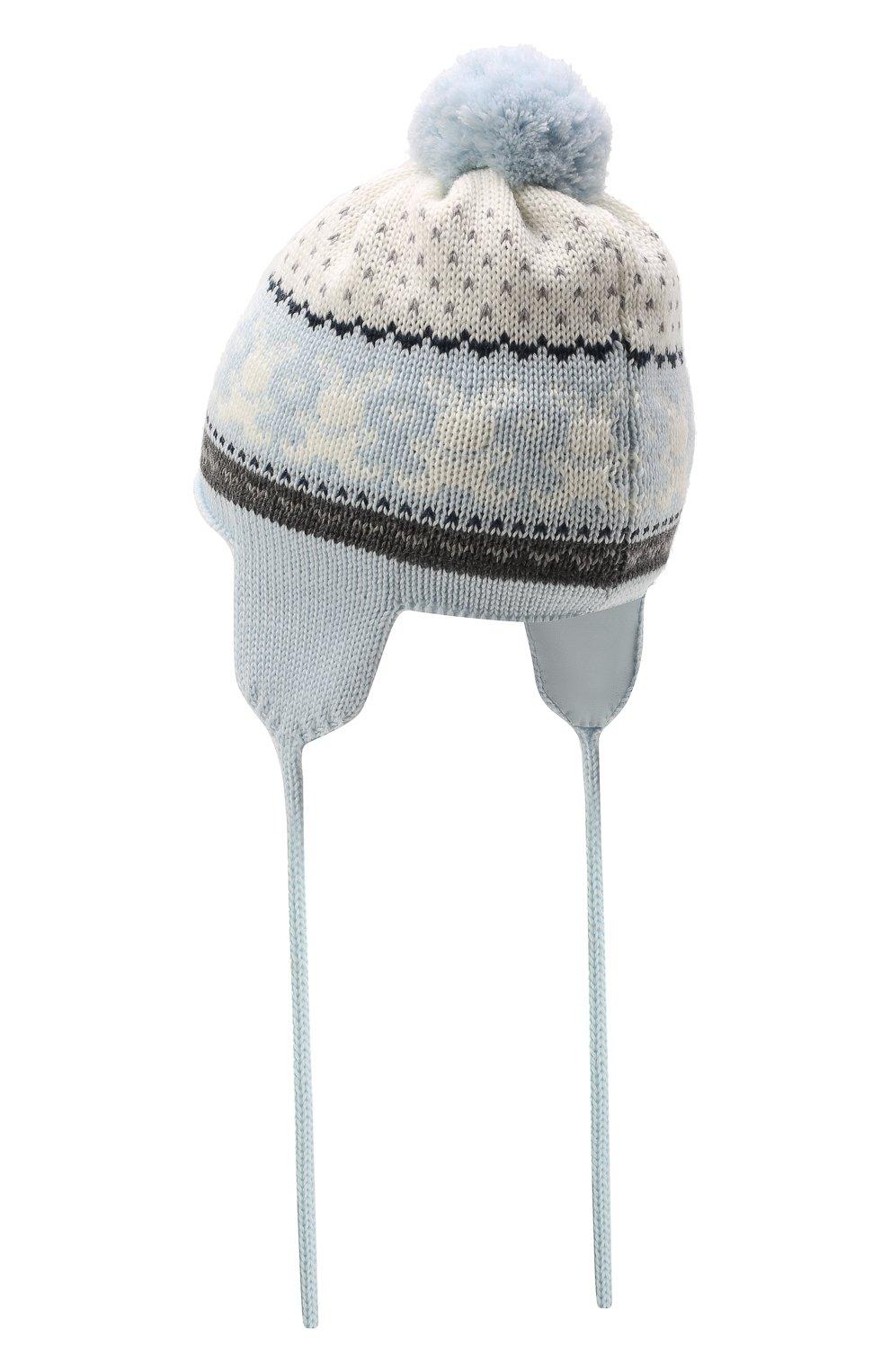 Детского шерстяная шапка CATYA голубого цвета, арт. 125609/J0F | Фото 2 (Материал: Шерсть)