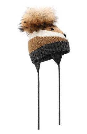 Детского шерстяная шапка с меховой отделкой CATYA разноцветного цвета, арт. 125608 | Фото 1