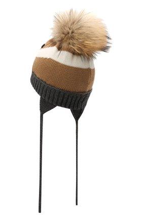 Детского шерстяная шапка с меховой отделкой CATYA разноцветного цвета, арт. 125608 | Фото 2