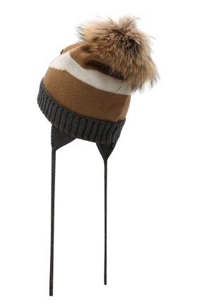 Шерстяная шапка с меховой отделкой | Фото №2