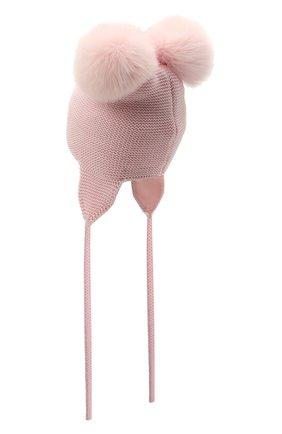 Детского шерстяная шапка с меховой отделкой CATYA розового цвета, арт. 125578/J0F | Фото 2
