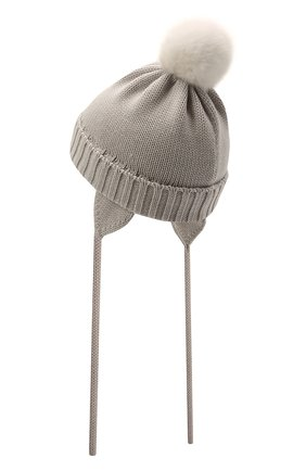 Детского шерстяная шапка CATYA светло-серого цвета, арт. 125570/A | Фото 2