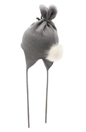 Детского шерстяная шапка с меховой отделкой CATYA серого цвета, арт. 125568/1 | Фото 2