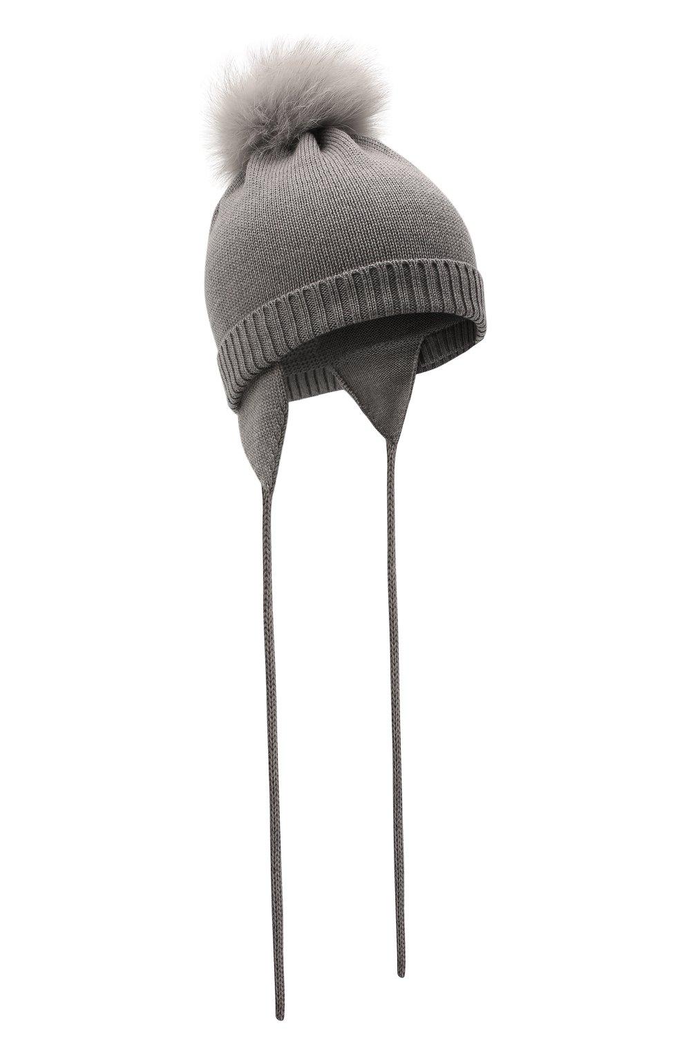 Детского шерстяная шапка с меховой отделкой CATYA серого цвета, арт. 125562/AF | Фото 1 (Материал: Шерсть)