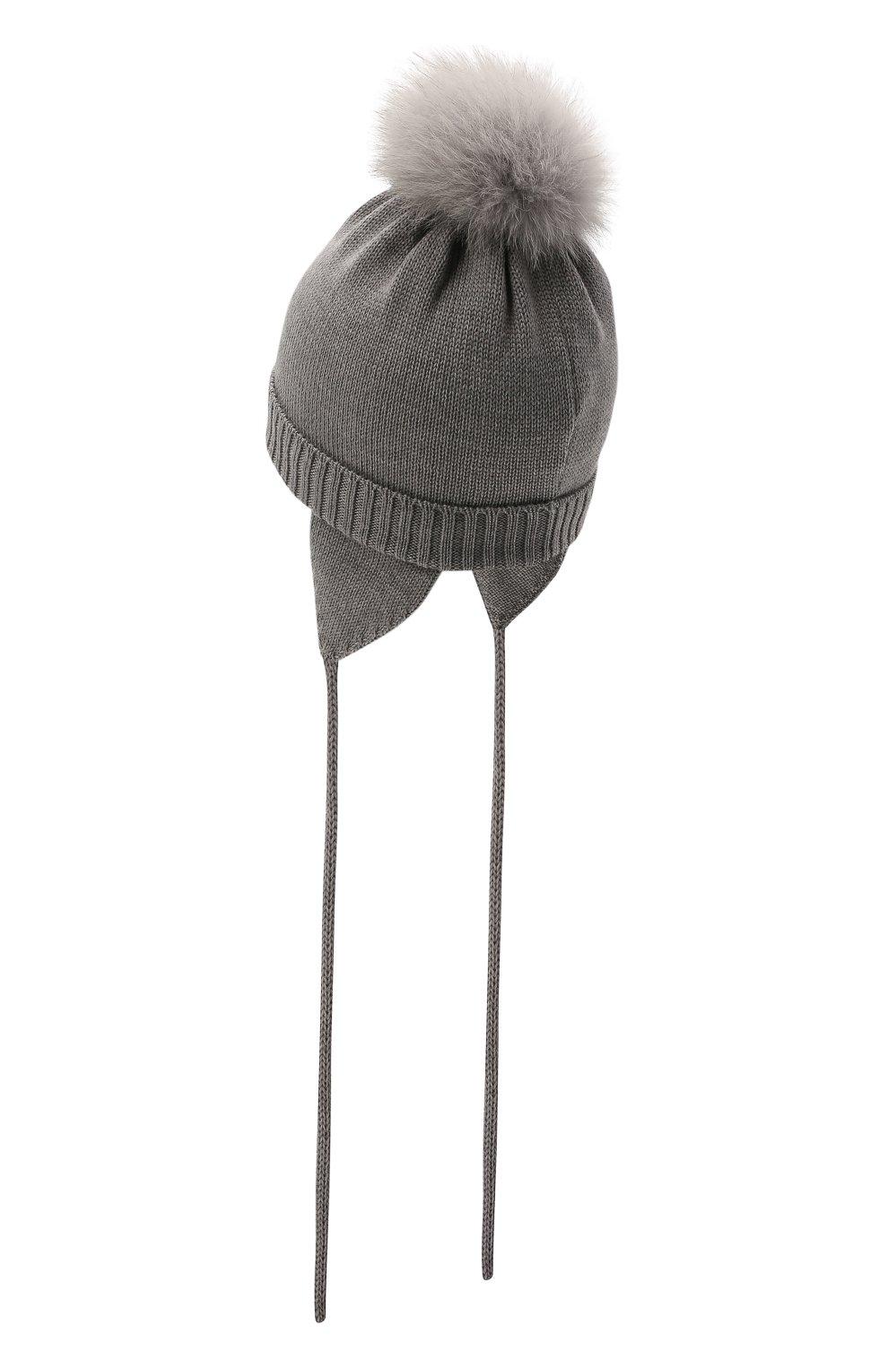 Детского шерстяная шапка с меховой отделкой CATYA серого цвета, арт. 125562/AF | Фото 2 (Материал: Шерсть)